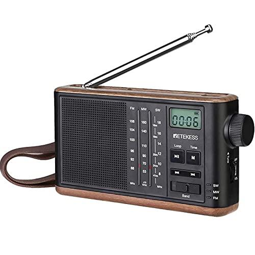 Retekess TR613 Radio Portátil, FM MW SW Radio Analógica Recargable, Soporte para Tarjeta TF,Conector para Auriculares de 3.5 mm,Radio Retro con Reloj,Pantalla LCD Retroiluminada,para Personas Mayores