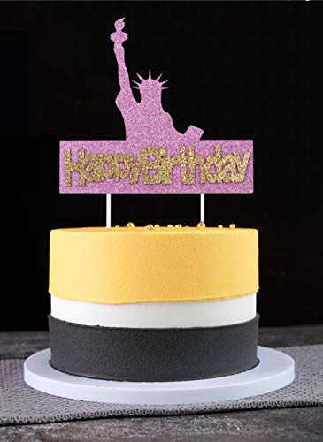 TwoMoon Birthday cake topper Happy birthday plugin Liberty brings you birthday wishes torch goddess gold pink cake baking decorations birthday party party supplies