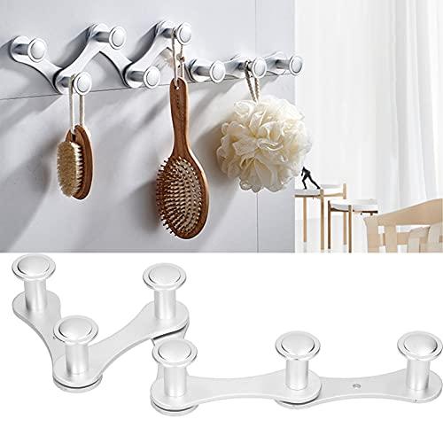 Gancho para ropa, sin perforaciones y plegable, perchero ajustable, aleación de aluminio y material PP,(Silver)