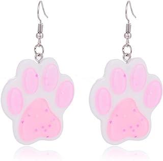 Pendientes de gota con diseño de huella de pata en color blanco y rosa brillante con