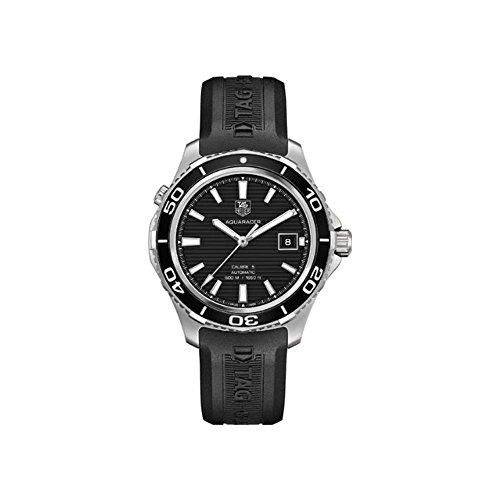 TAG Heuer Herren-Armbanduhr Aquaracer, 41 mm, schwarzes Gummiband, Stahlgehäuse, automatische Analoguhr WAK2110.FT6027