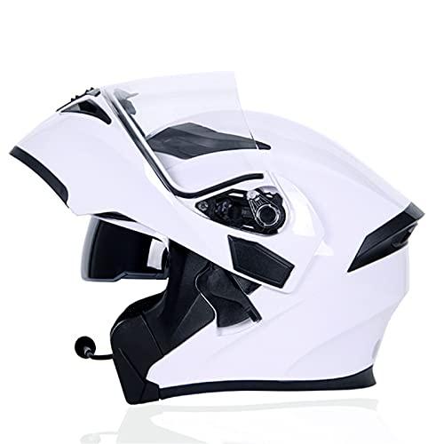 ACEMIC Casco De Moto Modular Bluetooth Integrado,Doble Visera Casco Integrado Moto Abatible,Dot/ECE Homologado Integral Reducción De Ruido Respuesta Automática 10S,C,X—Large