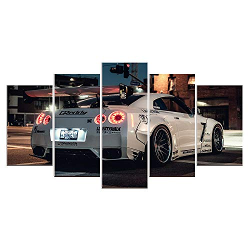 Karen Max Leinwandbild GTR Weiß Rennsport Sport Auto Wand Kunst Bild Home Decor Für Wohnzimmer Leinwand Bild Poster Artwork Size 5:8x12inchx2,8x16inchx2,8x20inchx1 Frame