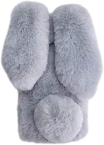 Hülle für Moto G8 Power Lite Plüsch Hase Kaninchen Handyhülle Schutzhülle Niedlich Pelzigen Hase Warm Hasenohren Fell Flauschige Schale Etui Tasche für Motorola Moto G8 Power Lite,Grau weiß