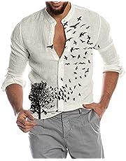 BIBOKAOKE Shirt heren lange mouwen en korte mouwen linnenlook hemd palmen voglein bedrukt muscle shirt zomerhemd vrijetijdshemd regular fit heren shirts onderhemd vrijetijdshemd gebreide jas