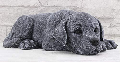 Steinfiguren Spicker Steinfigur Hund liegend 219/1, Gartenfigur Steinguss Tierfigur Basaltgrau