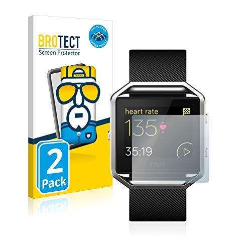 BROTECT Full-Cover Schutzfolie kompatibel mit Fitbit Blaze (2 Stück) - Full-Screen Bildschirmschutz-Folie, 3D Curved, Kristall-Klar