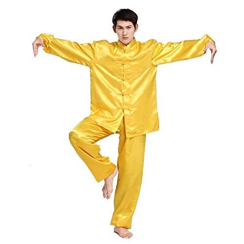 FLY FLU Tai Chi Donna,Uomo Abbigliamento Tai Chi Abbigliamento Tradizionale Cinese Tai Chi Uniforme in Cotone Kung Fu Abbigliamento Unisex per Arti Marziali,Yellow-X-Large