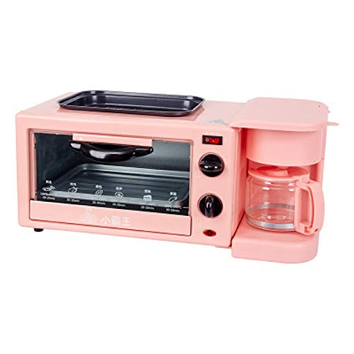 YUHUA Horno 3 en 1,Parrillas Máquina de Raclette Interior,Maquina de Desayuno,Sartén,Mini Horno,Cafetera para El Hogar, Oficina