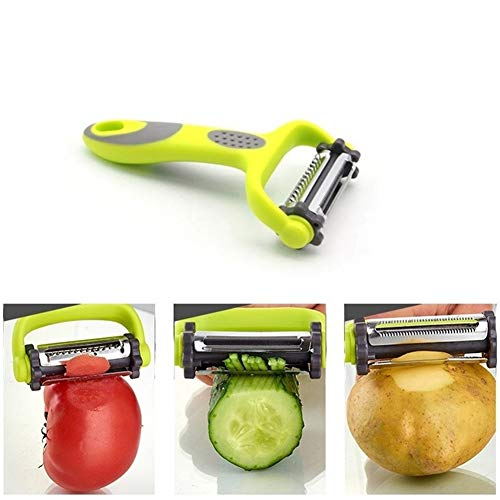 PO 3 in 1 Roterende Zaag Groenten en Peeler Shreds RVS Shredder Grater Wortel Fruit Plan Keuken Gereedschap 0808 Geel
