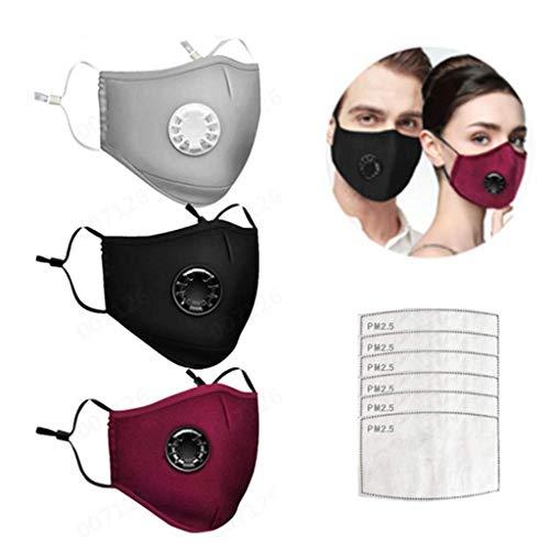 AmyGline Outdoor Baumwolle-Gesichtstuch-Mundschutz,mit Aktivkohlefilter,Wiederverwendbar,Waschbar,Anti-Staub,Atmungsaktiv,Grau Schwarz,für Radfahren Motorrad (3, Rot Schwarz Grau+6Filter)