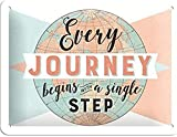 Nostalgic-Art Retro Blechschild Every Journey Begins – Geschenk-Idee für Reiselustige, aus Metall, Vintage-Design mit Spruch, 15 x 20 cm