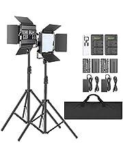 Neewer 2-delige set 2,4G LED-videolamp met 2m statief tweekleurig 200 SMD CRI 96+/U-houder/barndoor/LCD-scherm/afstandsbediening videoverlichtingsset voor studiofotografie