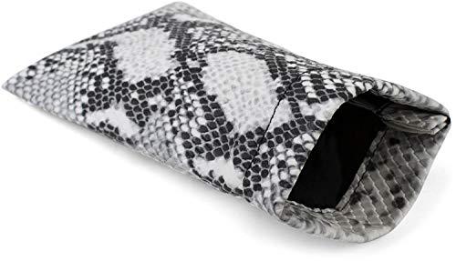 styleBREAKER Etui für Sonnenbrillen in Schlangenleder Optik mit Putztuch, Brillenetui mit Schnappverschluss, Unisex 09020095, Farbe:Weiß-Grau