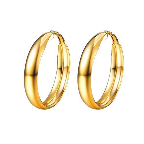 PROSTEEL orecchini cerchi semplice in acciaio inossidabile placcato in oro con superficie liscia, confezione regalo, per donna, 3 colori disponibili