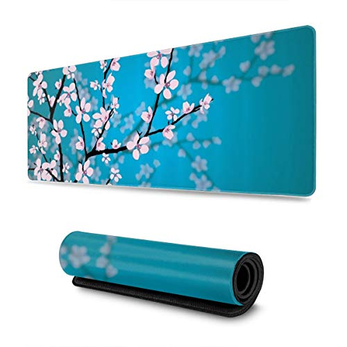 Japanese Sakura Flowers Gaming Mouse Pad XL, Extended Large Mouse Mat Desk Pad, Stitched Edges Mousepad, Long Non-Slip Rubber Base Mice Pad, 31.5 X 11.8 Inch