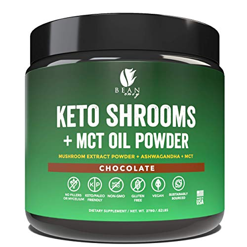 Bean Envy Keto Shrooms - Mushroom Extract Root Powder + MCT Oil Powder + Ashwagandha - Perfect for Keto, Immunity Boost, Weight Loss and Stress Management - Chocolate