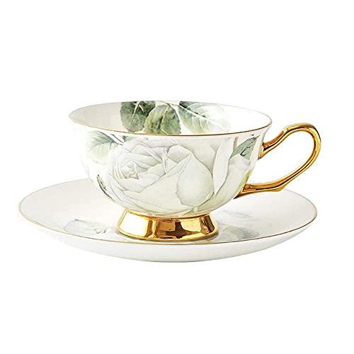 DFJU Xícara de café de cerâmica Xícara de chá da Tarde Xícara de água Copo de suco Xícara de Leite Escritório em casa Orelha suspensa Xícara de café Conjunto de Pires (Cor: Verde)