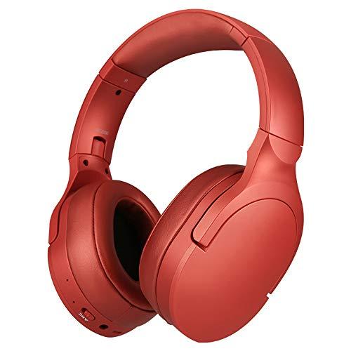 Sailormjy Hoofdtelefoon, ruisonderdrukkende bluetooth-headset, draadloze bluetooth-headset met microfoon, draadloze computer-hoofdtelefoon, opvouwbaar WLAN en kabelstereo headset, stereo rood