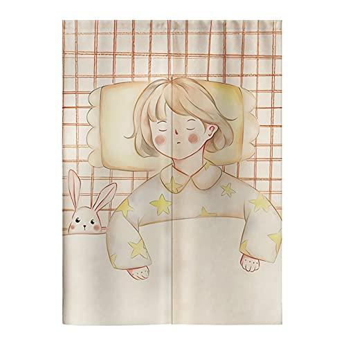 ZWJHNN Cortina Japonesa Noren Simple Dormitorio Sala De Estar Tela Colgante Cortina De Sala De Montaje (Color : Little Girl, Size : 29.5X47.2 IN)