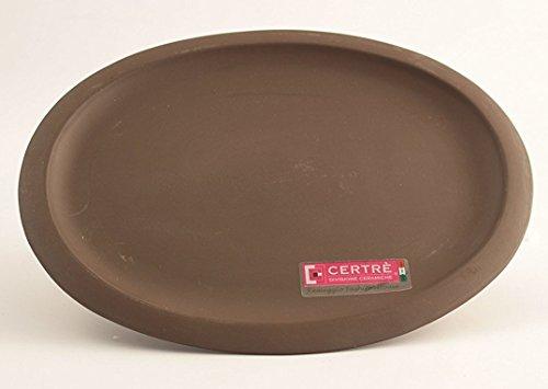 CERTRE soucoupe ovale en grès céramique Art.s6001- cm.24 x 19 h 2º couleur grès marron