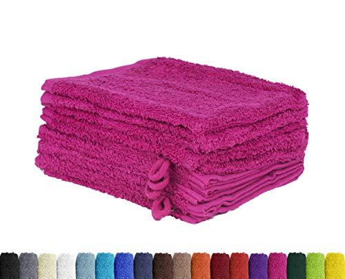 BaSaTex Lot de 10 Gants de Toilette en 100% Coton - 15 x 21 cm, Coton, Rose Bonbon, 15 x 21 cm
