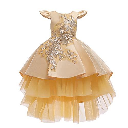 winying Mädchen Kleid Kinder Partykleid Elegant Sommerkleid Puffärmel Prinzessin Kleid Ballkleid Weihnachten Party Festzug Bekleidung Gelb B 134-140