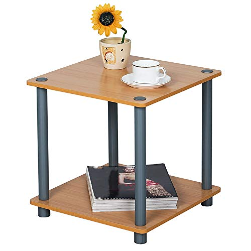 JXSD Double Layer Small End Table, Multifunctional Living Room Shelf, Square Environmentally Friendly and Easy Installation Coffee Table, for Balcony, Bedroom