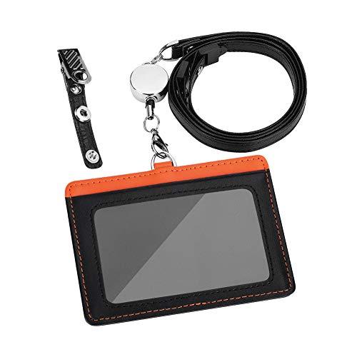 Maiwey IDカードホルダー 横型 IDカードケース ネームホルダー 伸縮リール式 クリップストラップ付き 両面用 本革 ギフト包装 (オレンジ+ブラック)