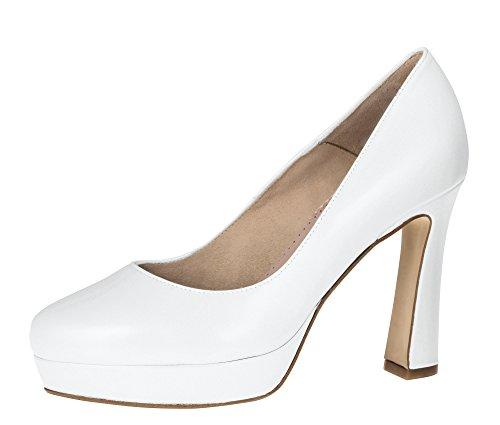 Fiarucci Mirjam – Scarpe da sposa in pelle bianca con plateau High Heels Comodi Imbottite Donna, Bianco (bianco), 38 EU