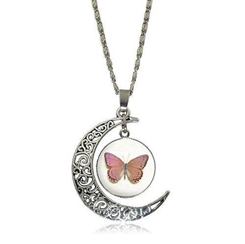 Collar de la luna del encanto, collar de la mariposa, joyería de la mariposa rosa, collar del cabujón de cristal plateado de la cadena, collar de la declaración del gargantilla de la vendimia, joyería de las mujeres