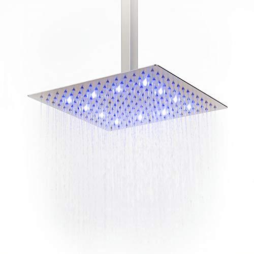 Soffione doccia a LED effetto pioggia ad alta pressione, ultra sottile, in acciaio inox 304; soffione doccia quadrato, nichelato, Acciaio inossidabile, 30cm/12inch