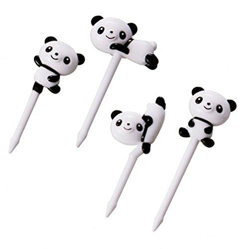 Torune 8 süße Essenspiekser mit schwarz-weißen Pandabären, 8 Stück, 4 Designs,