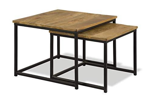 Liv&Giv Industrial Set di 2 tavolini di appoggio Hailey