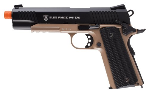 Elite Force 1911 Blowback 6mm BB Pistol Airsoft Gun, 1911 TAC, FDE/Black
