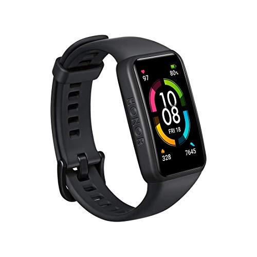 HONOR Band 6 Fitness Armband mit Pulsuhr, 1.47''AMOLED Touchscreen 14 Tage Akkulaufzeit SpO2 Überwachung,5ATM Fitness Tracker Schrittzähler Uhr Herren Damenr Smartwatch Aktivitätstracker, EU(Schwarz)