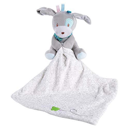 Comodidad del bebé toalla, una suave y segura toalla suave de dibujos animados de animales de peluche, abrazo de juguete antes de ir a la cama, regalo para niños(Dog)