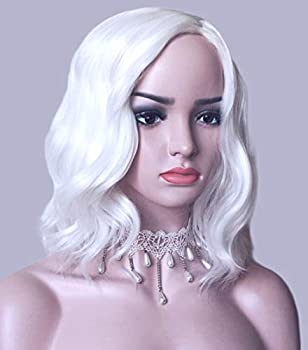 White Bob Wigs Wavy Curly Synthetic Hair Side Part Costume Halloween For Adult  White
