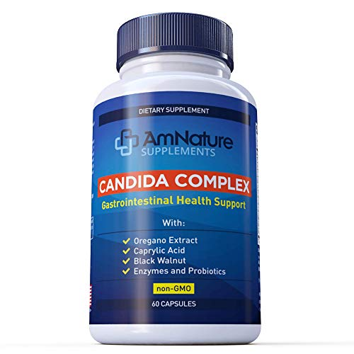 Acidophilus Candida Complex (Non-GMO) with Probiotics and Enzymes Natural Gastrointestinal Health Support with Caprylic Acid, Oregano Oil & Black Walnut, 60 Capsules