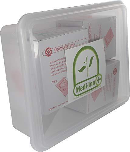 Rudavlies steril Pflaster -Set von Nobamed inklusive Medi-Inn Aufbewahrungsbox (100 Stück 7 x 5 cm + 50 Stück 10 x 8 cm)