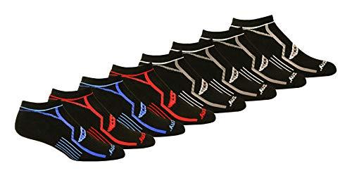 Saucony Men's Performance Comfort Fit Heel Tab Athletic Socks, Black/Blue/Red (8 Pairs), Shoe Size: 8-12