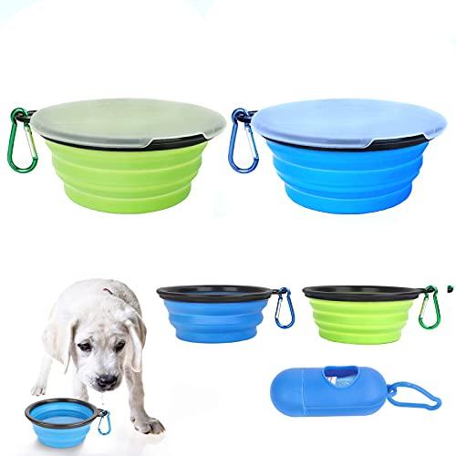 LZZ 2 ciotole da viaggio pieghevoli da 450 ml, ciotole da viaggio per animali domestici, bottiglia per cani da viaggio, utilizzabile per campeggio all'aperto e viaggi per gatti e cani (blu e verde)