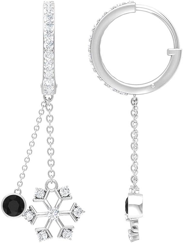 3/4 CT Bezel Set Created Black Diamond Dangle Earrings with Snowflake Diamond, Hoop Style