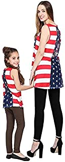 RUYUE Mommy and Me Sleeveless Tops Shirt Women Girl Family Casual Outfits Tops Stripe Dress