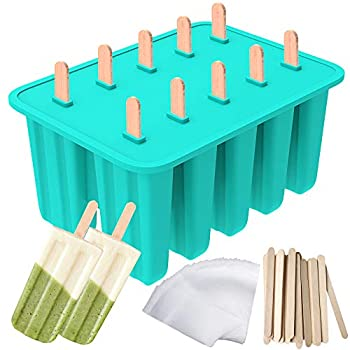 Ozera Popsicle Molds 10-Cavity Popsicle Maker Food Grade Silicone Popsicle Molds for Kids Homemade Popsicles Ice Pop Molds with 50 Popsicle Sticks 50 Popsicle Bag