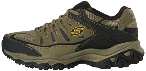Skechers Sport Men's Afterburn Memory Foam Lace-Up Sneaker, Pebble/Black/Pebble, 11 M US
