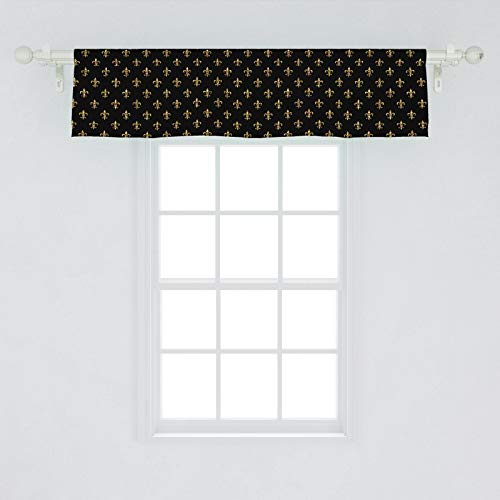 """Ambesonne Fleur De Lis Window Valance, Old Fashioned Baroque Background Royal Lily Flower Fashion Art, Curtain Valance for Kitchen Bedroom Decor with Rod Pocket, 54"""" X 12"""", Yellow Black"""
