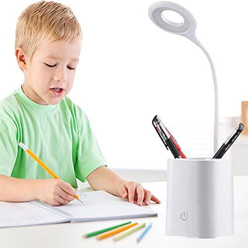 HyAiderTech Lámpara de Escritorio LED para Portalápices, Cuidado a Vista, 3 Niveles Lámpara de Regulable, Control Táctil, Flexible luz de libro USB Portátil para Lectores, Estudio y Trabajo