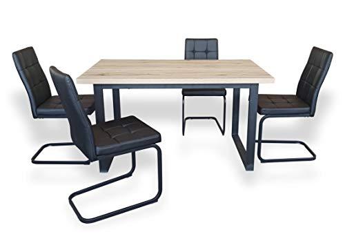 B&D home - Essgruppe mit 4 Stühlen | Esstisch 140x80 cm - Sanremo Eichen-Optik | Freischwinger Stühle