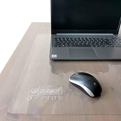 D.RECT Protector de escritorio transparente | 70 x 50 cm de PVC | antideslizante | grosor 600 µ, 0,6 mm | bordes redondeados impermeables | alfombrilla de escritorio para oficina y hogar